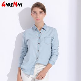 $enCountryForm.capitalKeyWord NZ - Denim Women Blouses Plus Size Denim Shirt For Women Tops Female Clothing Autumn Feminine Shirts Jeans Top Work Wear GAREMAY