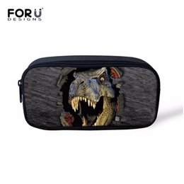 watermelon kids bag UK - FORUDESIGNS Cool 3D Dinosaur Kids Pencil Case Women Makeup Bag Cosmetics Cases Pen Box For School Stationery Pencil Bags Holder