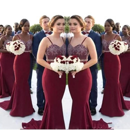 Wholesale bridesmaids waist sashes resale online - African Burgundy Long Bridesmaid Dresses Lace Appliques Beaded Waist Mermaid Maid Of Honor Gowns Wedding Guest Formal Party DressBA8027