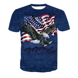 Discount nation flags - Men Clothing America Nation Flag Eagle Printed Casual Tshirts Summer Male Crew Neck Tees Short Sleeve Tops