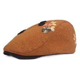 Duckbill hats men online shopping - SUOGRY Women Beret Cotton Burgundy Flower Duckbill Ivy Caps Female Floral Vintage Ethnic Style Summer Flat Hats New Fashion