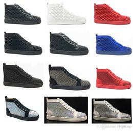 Discount flat bottomed white sneakers - Fashion Designer Brand Studded Spikes Flats shoes Red Bottom Shoes For Men and Women Party Lovers Genuine Leather Sneake