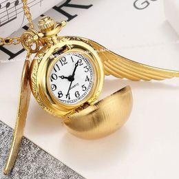 Woman Fans Australia - Vintage Golden Snitch Harry Potter Necklace Pocket Watch Women Men Pendants Silver Bronze Wing Quartz Clock Potter Fan Cute Gift
