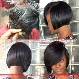 Wig Black Bangs African American Canada - Lace Front Wig Bob African American Human Hair Wigs With Bangs Full Lace Real Human Hair Short Bob Lace Wig With Bangs