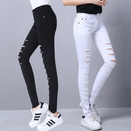 Ripped Jeans Tights NZ - 2018 Ripped Jeans Women Tight Skinny Jeans Woman Stretch Push Up Jean Female Trendy Trousers Korean Pants Black White XS
