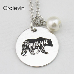China Metal Stamping Ideas MAMA Inspirational Hand Stamped Engraved Custom Charm Pendant Chain Necklace Gift Jewelry,18Inch,22MM,10Pcs Lot,#LN2359 suppliers
