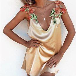 Mini slips party online shopping - Sexy Elegant Womens Deep V Neck Casual Dress Ladies Sleeveless Dress Flower Embroidery Party Dress Party Slip Dresses CCA9142