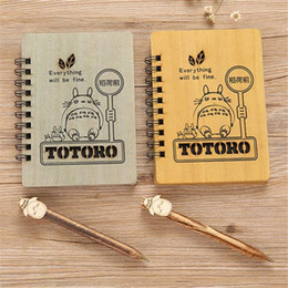 Wooden Stationery NZ - 1pc lot Wooden Anime Totoro NotWith Pen Set Wooden Diary Day Book Journal Stationery Wood Ballpoint School Supplies 18cm