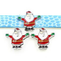 name beads wholesale NZ - 10PCs 8MM Enamel Xmas Santa Claus Slide Charms Beads Fit DIY Accessory 8mm Pet Collar Name Belts Bracelets