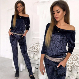 $enCountryForm.capitalKeyWord Australia - 2017 Winter Jumpsuit Women Sets Velvet Track Suits Sweatsuit With Long Sleeve Bodycon Slash Neck Womens Clothing Two Piece Sweat Suits