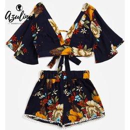 AZULINA floral abriendo cuello recortada Top de talle alto de encaje cortocircuitos de las mujeres ropa Casual dos piezas Set verano TwinsetY1882201