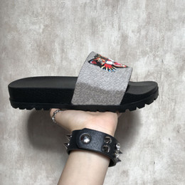 huaraches original 2019 - Slippers 2018 New Grey Fashion Luxury Sandals Men Women Slippers Tiger Cat Design Summer Huaraches slippers flip With Or