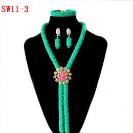 Light Green Jewelry Sets NZ - light Green Women Nigerian Crystal Collar Necklace Fashion African Wedding Bridal Statement Necklace Earring Bracelets African Jewelry Sets