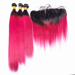 $enCountryForm.capitalKeyWord Australia - Silky Straight 1B Pink Human Hair Weaves With Lace Frontal Two Tone Virgin Human Pink Red Hair 3Bundles With Lace Frontal 13x4