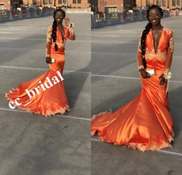 Wholesale Modest Orange Taffeta Mermaid Prom Dresses With Deep V Neck Long Sleeve Dress Evening Wear Applique Lace Party Prom Gowns