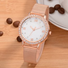 solar powered roses 2019 - Rose Gold Sliver Mesh Stainless Steel Watches Women Top Brand Luxury Casual Clock Ladies Wrist Watch Relogio Feminino di
