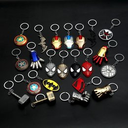 Batman keychains online shopping - 10pcs Metal Marvel Avengers Captain America Shield Keychain Spider man Iron man Mask Keychain Toys Hulk Batman Key Car Pendent