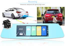 camera rearview mirror full hd NZ - 7 inches car DVR recorder mirror rear view dashcam vehicle digital camera 2 channels full HD 1080P 170 degrees night vision G-sensor