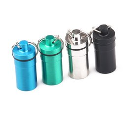 Aluminum wAterproof bottle online shopping - Newest MM Metal Aluminum Alloy Waterproof Box Hidden Herb Wax Storage Bottle Exclusive Design Easy To Carry High Quality DHL Free
