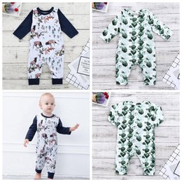 girls christmas rompers Canada - Newborn Baby Girl Clothes Boys Christmas Elk Santa Print Rompers Infant Long Sleeved Jumpsuits Kids Designer Onesies Brand Clothing YL411