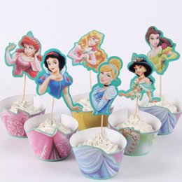 24pcs Lot Wedding Birthday Party Supplies Princess Paper Cupcake Wrappers Toppers Decoration Cake Cups12wraps 12topper