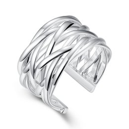 Chinese  Wholesale Silver Plated New Design Finger Ring For Lady Open Resizable Weave Ring Fashion Jewelry R022 manufacturers