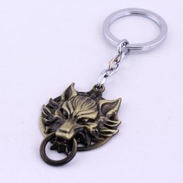 Gold Coin Head NZ - Trendy Silver Plated Alloy children Dragon KeyChain wolf head KeyChain Final Fantasy Key Chain Ring Pendant