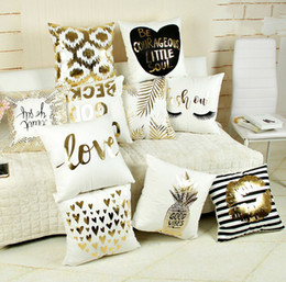 Cotton deCo online shopping - New style gold stamping pillowcase letters fashion gold stamping printing pillow cushion cover for sofa automobile christmas new year deco