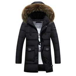 Wholesale mens winter parkas resale online – 2018 Winter Thick Warm Mens Long Padded Jacket Hooded Puffer Coat Real Fur Collar Parka Homme XL XL Plus Size Chaquetas Hombre