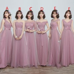 China 2019 Maxi Style Soft Tulle Bridesmaid Dresses A Line Floor Length Lace Up Back Maid Of Honor Wedding Guest Gown For Garden Beach Chi Wedding cheap purple maxi dresses for weddings suppliers