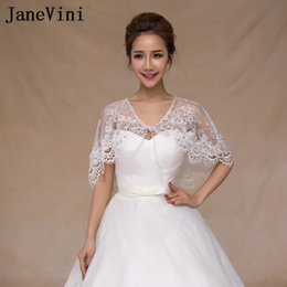 $enCountryForm.capitalKeyWord NZ - JaneVini Beaded Lace Up Bridal Cape For Wedding Dresses Women Wraps Summer Spring Lace Bolero Sposa Short Cloak Shrug Jacket 2018 New