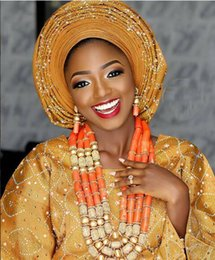 Nigerian Bridal Coral Beads Australia - Luxury Nigerian Wedding African Coral Beads Jewelry Set for Brides Dubai Indian Gold Bridal Statement Necklace Set CNR694