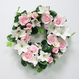 Discount white rose yellow flower garland - High Quality Diy Wedding Artificial Flower Rose Lily Green Leaves Simulation Cane Adornment Garland Wall Party Decor Vin