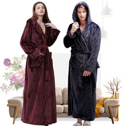 13c397d56c Women Winter Hooded Extra Long Thick Flannel Bath Robe Luxury Peignoir Warm  Dressing Gown Men Bathrobe Bridesmaid Wedding Robes
