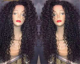 $enCountryForm.capitalKeyWord NZ - Wholesale Black Loose Curly Long Wigs With Baby Hair Brazilian Glueless Lace Front Full Lace Women Human Hair Lace Wigs for Black Women