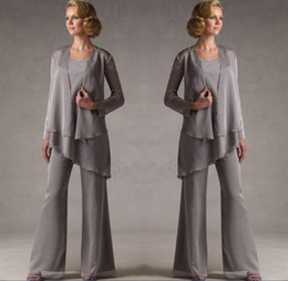long chiffon mother bride dress sleeves NZ - Mother Of The Groom Grey Chiffon Bridal Mother Bride Pant Suits With Jacket Women Evening Pant Suits Long Sleeve Evening Dresses DH325