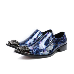 Shoes Metal Print Australia - Mens luxury metal printing patent leather casual shoes men loafers pointed toe slip on evening party dress shoes