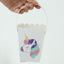 Wholesale Boxes Packaging Australia - Cute Cartoon Rainbow Unicorn Candy Boxes Wedding Favors Gift Box Paper Package Candy Bag 50pcs lot