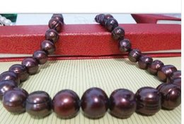 Huge silver cHain online shopping - HUGE quot MM FRESHWATER GENUINE BAROQUE CHOCOLATE RED PEARL NECKLACE