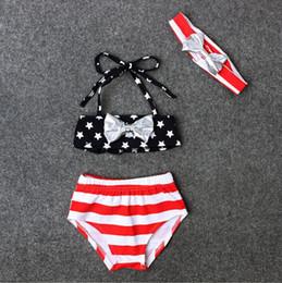 $enCountryForm.capitalKeyWord Australia - New 2017 Baby Infant Children Summer girls striped stars bowknot can bind three-piece Beachwear swimsuit swimwear Girl's bathing suit