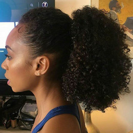 Hair extensions black girls online shopping - Ponytail Hair Extensions Kinky Curly For black girls g Color B Natural Black Virgin Human Hair PonyTail Extensions g quot cm
