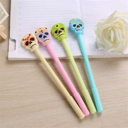 school glue NZ - Hot sell Creative Gel Pens Skull Head Soft Glue Neutral Pen Fruit Color Water Pen Halloween Gifts Office Students School