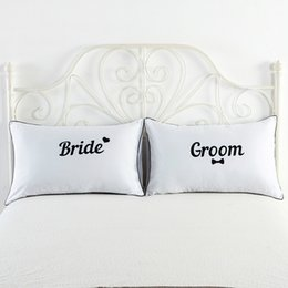 $enCountryForm.capitalKeyWord NZ - 2pcs lot Standard Couples Pillow Cover Letter Print White Decorative Soft Breathable Pillowcase Bedroom Bedding for Home Hotel Pillow Case