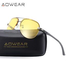 6690644c5c AOWEAR HD Night Vision Glasses Men Polarized Aviation Yellow Sunglasses for Night  Driving Goggles Driver Anti-Glare Sun Glasses