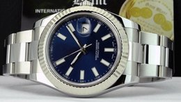 Ship Free Mens Wrist Watches Australia - Free shipping Luxury AAA Brand Mens Wrist Watch 41mm 18kt White Gold & Stainless DateJust II Blue Index 116334 Automatic Movement Men Watch