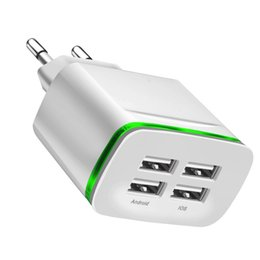Discount phone wall port - 5V 4A Fast Quick Charge Eu 4 Usb ports Ac home travel wall charger led light power adapter for iphone 7 8 x samsung s7 s