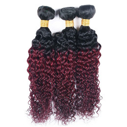 $enCountryForm.capitalKeyWord NZ - Dark Roots 1B 99J Kinky Curly Hair Weave 3 Bundles Cheap Brazilian Ombre Color Red Wine Curly Virgin Human Hair Extensions 3Pcs Lot