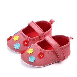 Baby Shoes Sweet Casual Princess Girls Baby Kids Newborn Cute Girls Canvas  Flower Single First Walker Soft Sole Shoes  QJ 3a2b42597e03