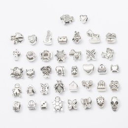 Wholesale 40PCS Mix Style Alloy Hole Beads Pendant Charms Fit Bracelet Necklace Loose Beads Jewelry DIY Accessories DHL FREE