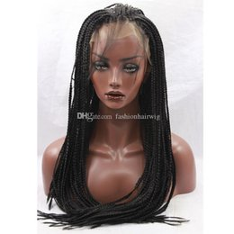 synthetic afro hair braid 2018 - Women Synthetic Wigs Lace Front Long Curly Afro Black Braided Wig Plait Hair For Black Women African Braids Party Wig Ha